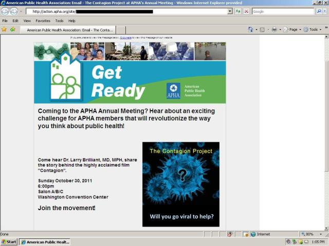 APHA Email featuring Contagion